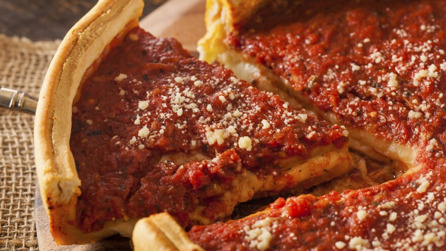 """Comedy Central's Jon Stewart has called Chicago-style pizza """"tomato soup in a bread bowl."""""""
