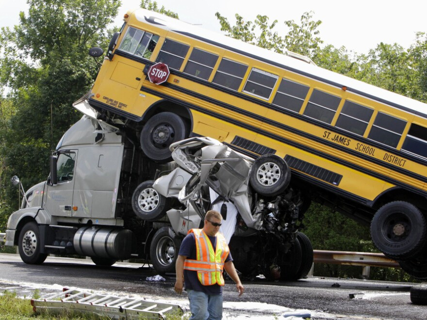 The NTSB call to action was spurred by a deadly pileup in Missouri in August in which a 19-year-old pickup truck driver was texting when he rear-ended a semi-trailer, which careened into a school bus that subsequently hit another school bus. The pickup driver and a 15-year-old student were killed; 38 others were injured.