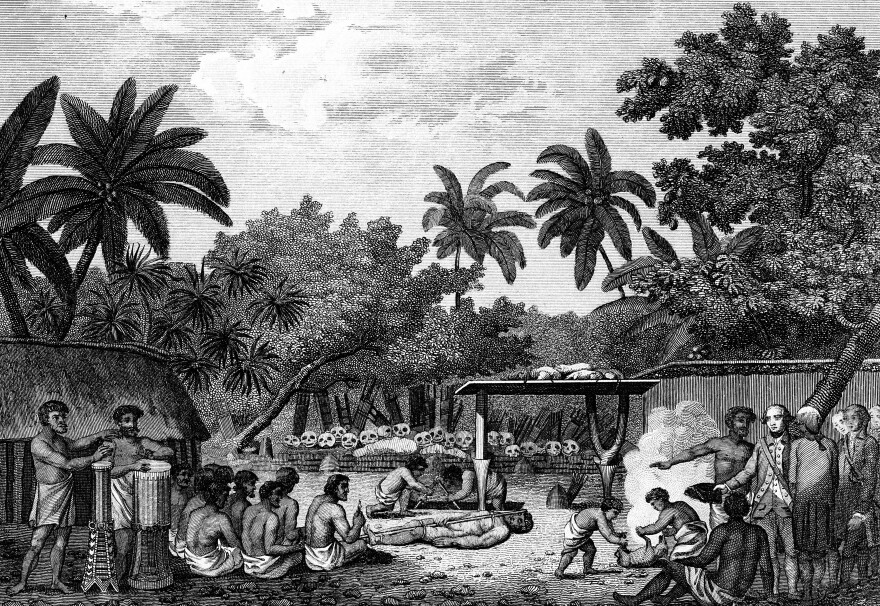 Human sacrifice helped solidify systems of social hierarchy, according to a new study of traditional cultures in the Pacific Ocean. Here, an engraving shows English explorer James Cook witnessing a human sacrifice ritual in Taihiti in the 1770s. The image comes from the 1815 edition of <em>Cook's Voyages.</em>