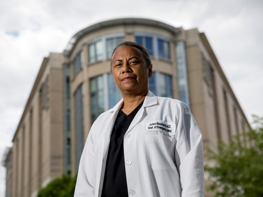 Dr. Janice Blanchard stands outside George Washington University Hospital, where she works as an emergency medicine physician.