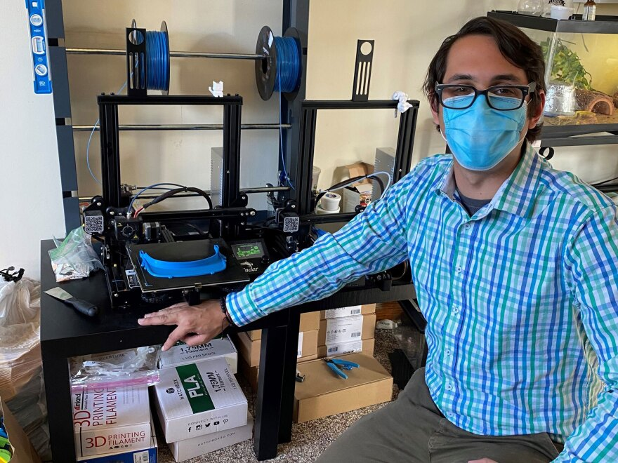 Jacob Ezzo, a chorus teacher from South Orange Middle School in New Jersey, has helped spearhead an effort to make face shields for those working on the front lines of the coronavirus pandemic.