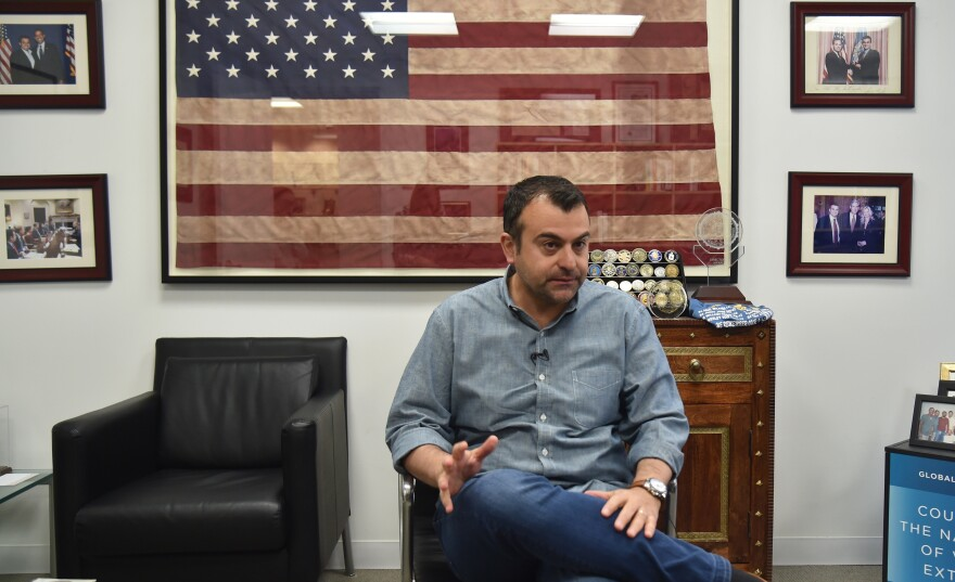 Former FBI Agent Ali Soufan, shown here in New York in 2018, interrogated many al-Qaida suspects after the Sept. 11, 2001 attacks. Soufan's 2011 book on that topic, <em>The Black Banners</em>, included many redactions. A new version was released this week without the redactions.