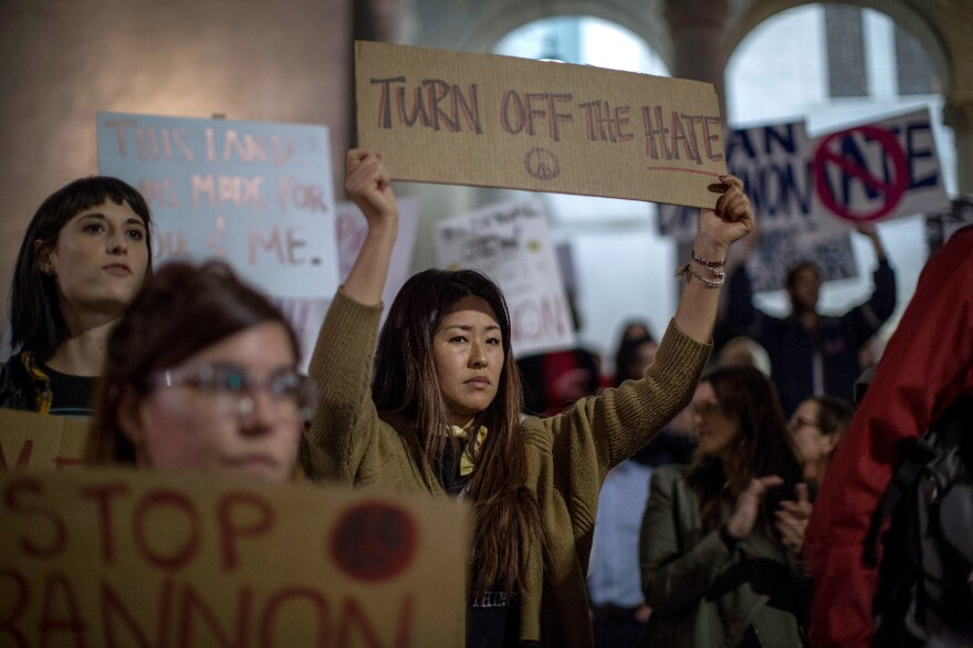 People protest the appointment of white nationalist alt-right media mogul, former Breitbart News head Steve Bannon, to be chief strategist of the White House by President-elect Donald Trump on Nov. 16, near City Hall in Los Angeles, Calif.MCNEW/AFP/Getty Images)