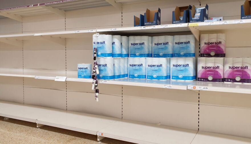 A view of almost empty shelves in a supermarket. (Gareth Fuller/PA Images via Getty Images)