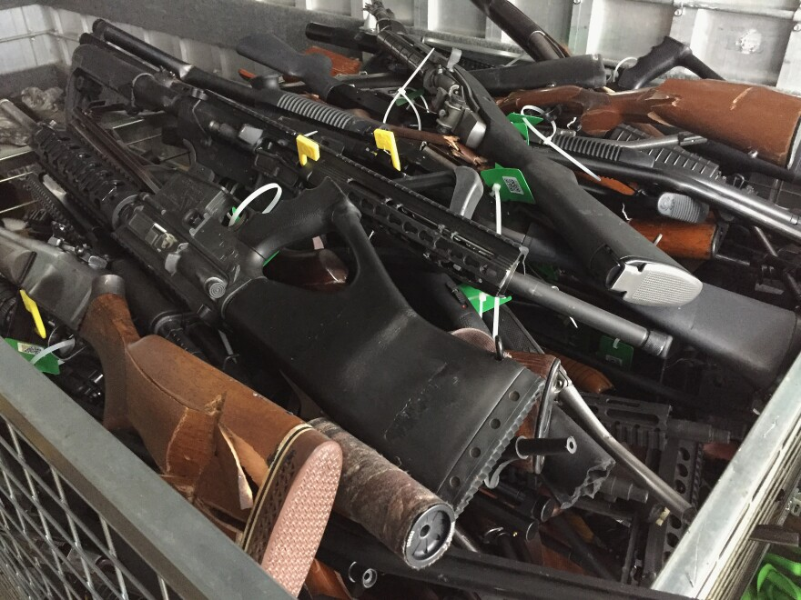 In this handout image provided by New Zealand Police, collected firearms are seen at Riccarton Racecourse on July 13 in Christchurch, New Zealand.