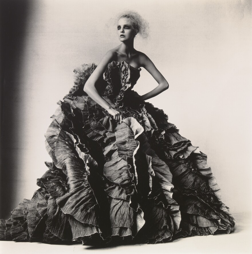 During his decades-spanning career Irving Penn photographed everything from fashion models to frozen food. Above, <em>Ball Dress by Olivier Theyskens for Nina Ricci,</em> New York, 2007.