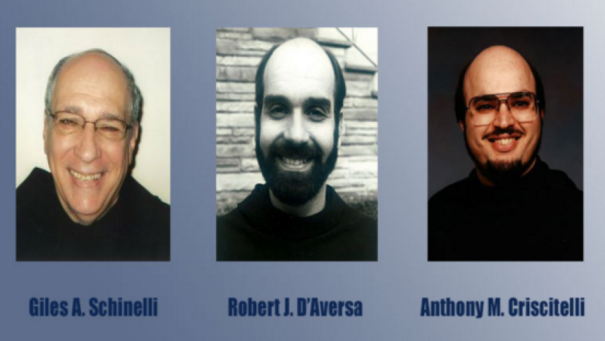 Giles A. Schinelli, Robert J. D'Aversa and Anthony M. Criscitelli were charged with conspiracy and child endangerment for allowing a friar who was a known sexual predator to continue working with children.
