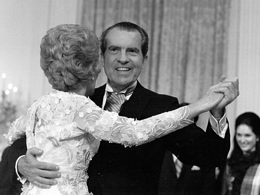 President Richard Nixon dances with his wife, Pat, at the White House in 1971. Many historians have described Nixon as paranoid. But one team of scientists found stronger evidence that he had a serious drinking problem.