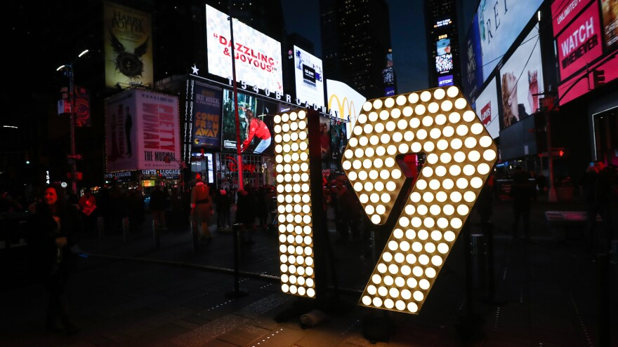 The numerals 19, for 2019, were lit up in Times Square in New York City on Dec. 19, ahead of the New Year's Eve celebrations.