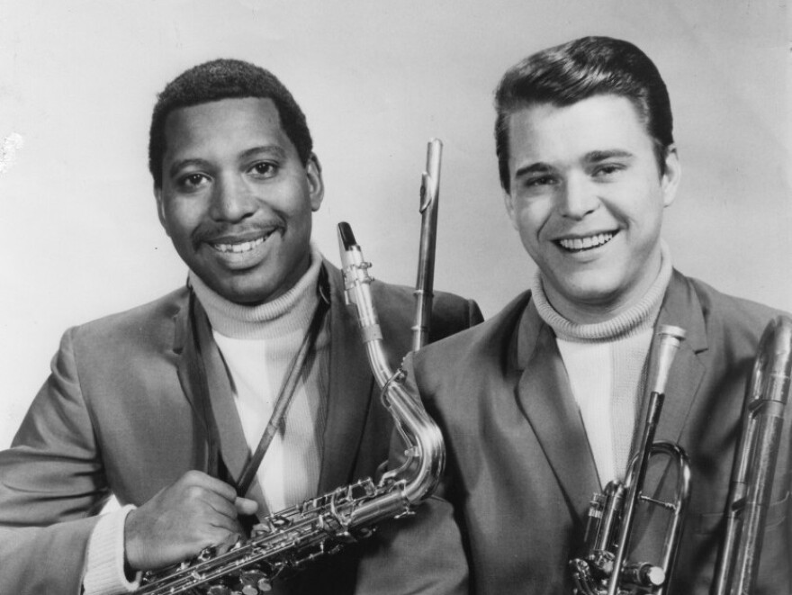 Andrew Love (left) and Wayne Jackson pose for a studio portrait in 1965.