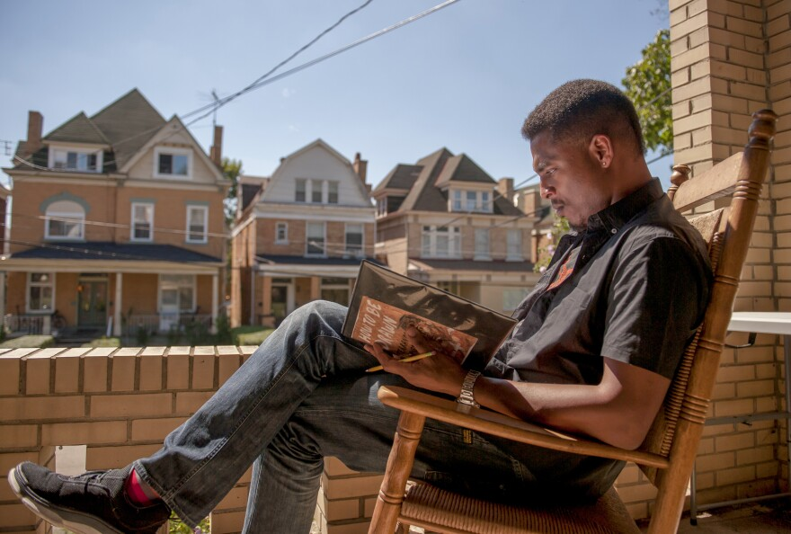 """""""I became a poet in Pittsburgh,"""" says, poet and University of Pittsburgh professor Terrance Hayes, pictured above at his home."""