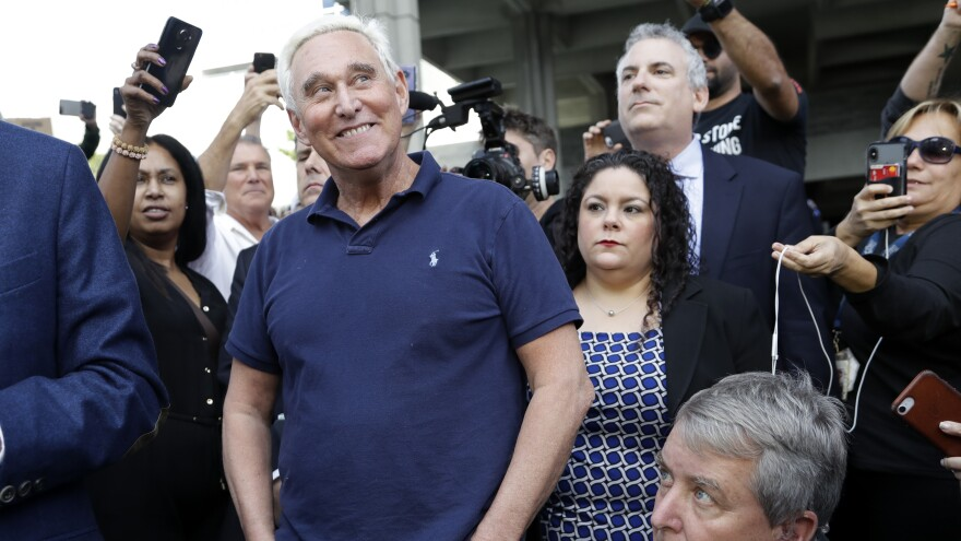 Roger Stone, a confidant of President Trump, walks out of the federal courthouse last Friday in Fort Lauderdale, Fla. He was in court again on Tuesday and will be again this Friday.