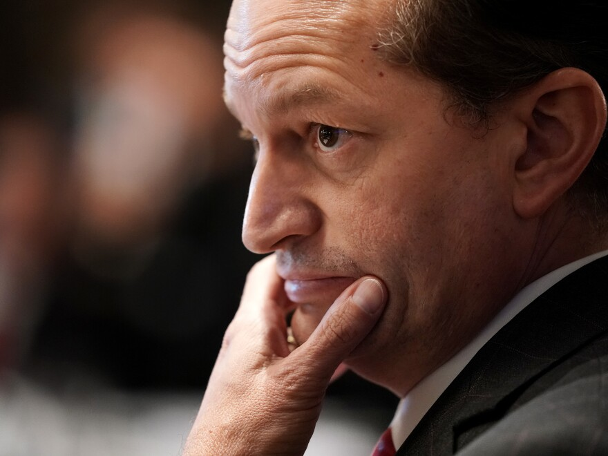 """The Justice Department found Thursday that U.S. Labor Secretary Alex Acosta, shown here during a cabinet meeting at the White House in 2019, showed """"bad judgment"""" in the prosecution of Jeffrey Epstein."""