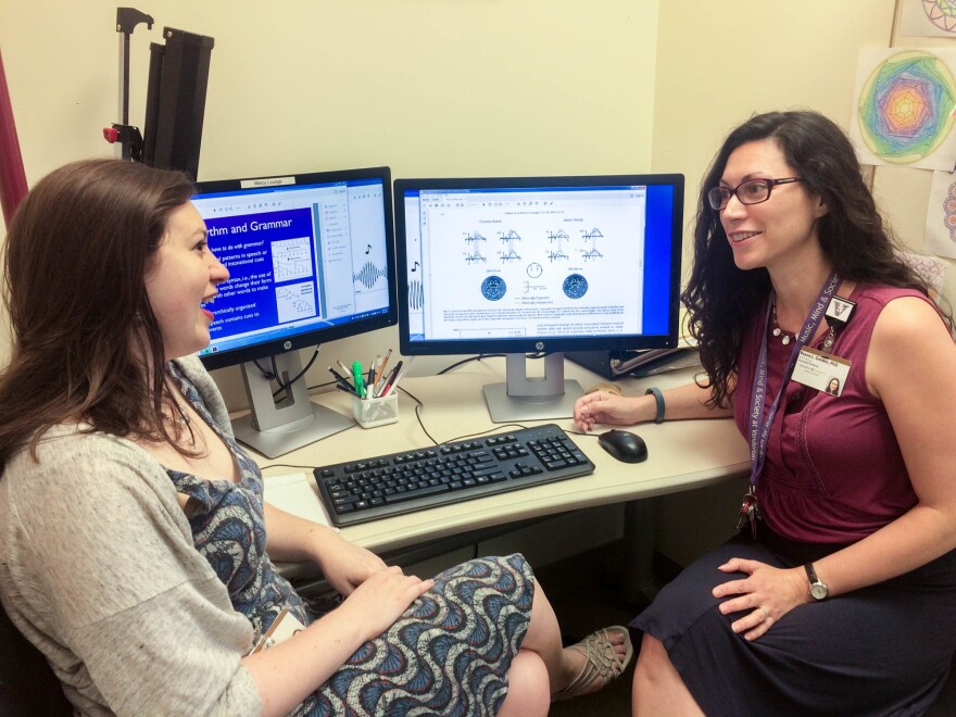 Research analyst Allison Aaron and Assistant Professor Reyna Gordon are studying how music and rhythm training could help children who struggle with language development. Their work is part of Vanderbilt's Program for Music, Mind and Society.