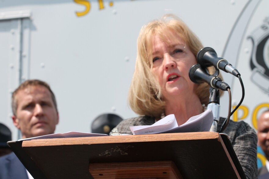St. Louis Mayor Lyda Krewson speaks at a news conference announcing state help to fight the city's crime problem.