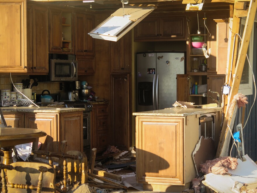 The kitchen of a severely damaged home in Mexico Beach after Hurricane Michael.