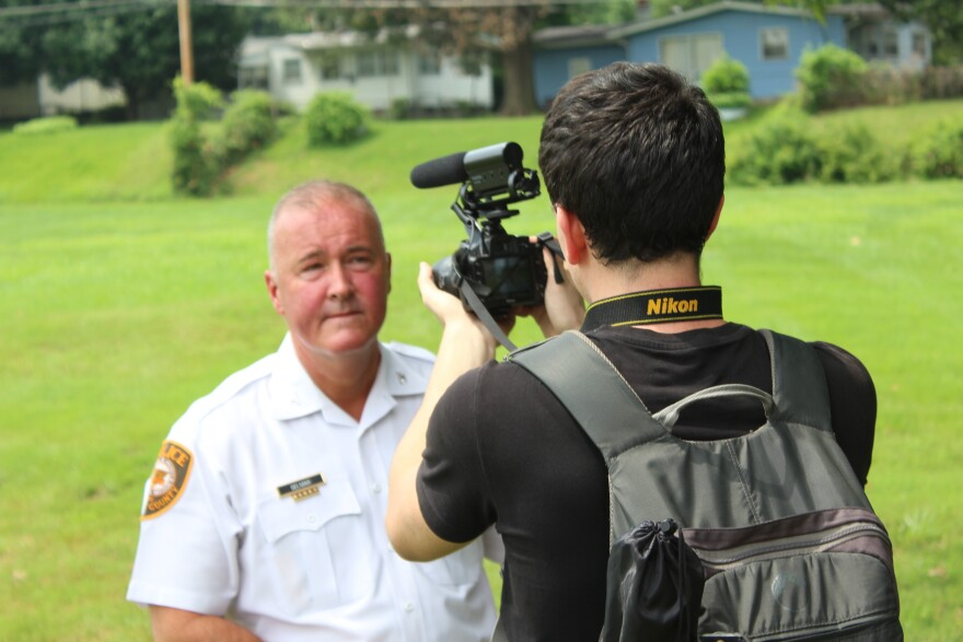 St. Louis County Police Chief Jon Belmar is interviewed by Trey Yingst, a Washington, D.C.-based journalist. Yingst was arrested while covering the Ferguson unrest last year.