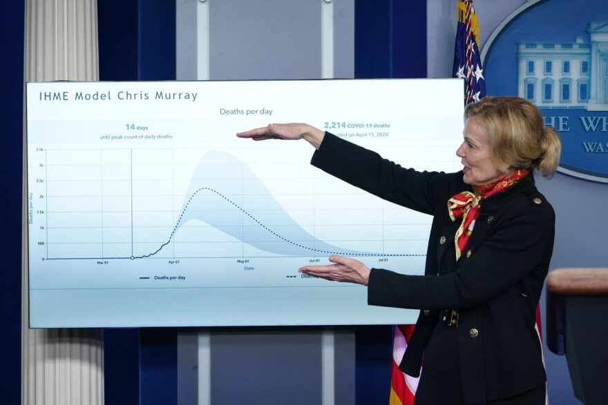 Dr. Deborah Birx, the response coordinator for the White House Coronavirus Task Force, speaks as she points to a model of the effects of coronavirus during a press briefing on March 31, 2020.