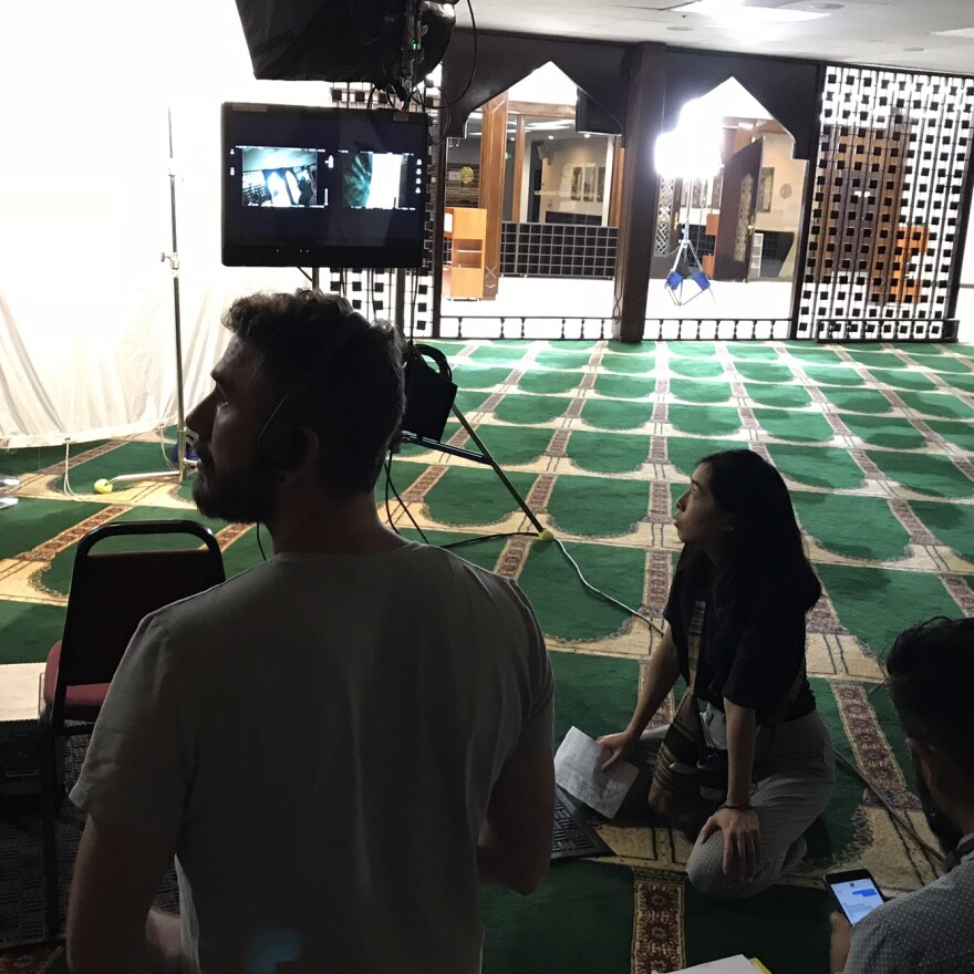 On the set of <em>East of La Brea</em> at the Islamic Center of Southern California. The Web series, which focuses on two Muslim-American women, is one of a new crop of shows featuring Muslim characters.