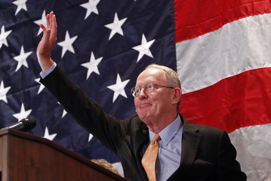 Sen. Lamar Alexander, R-Tenn., acknowledges the crowd after speaking to supporters in Knoxville on Nov. 4.