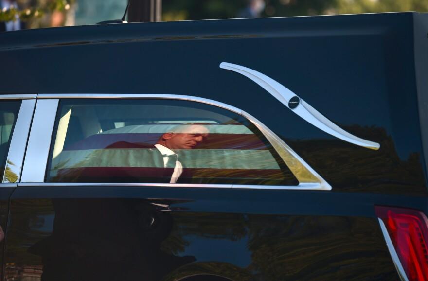 Ruth Bader Ginsburg's casket arrives at Supreme Court.