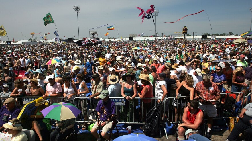 The opening-day crowd of Jazz Fest in 2006, the first following Hurricane Katrina.