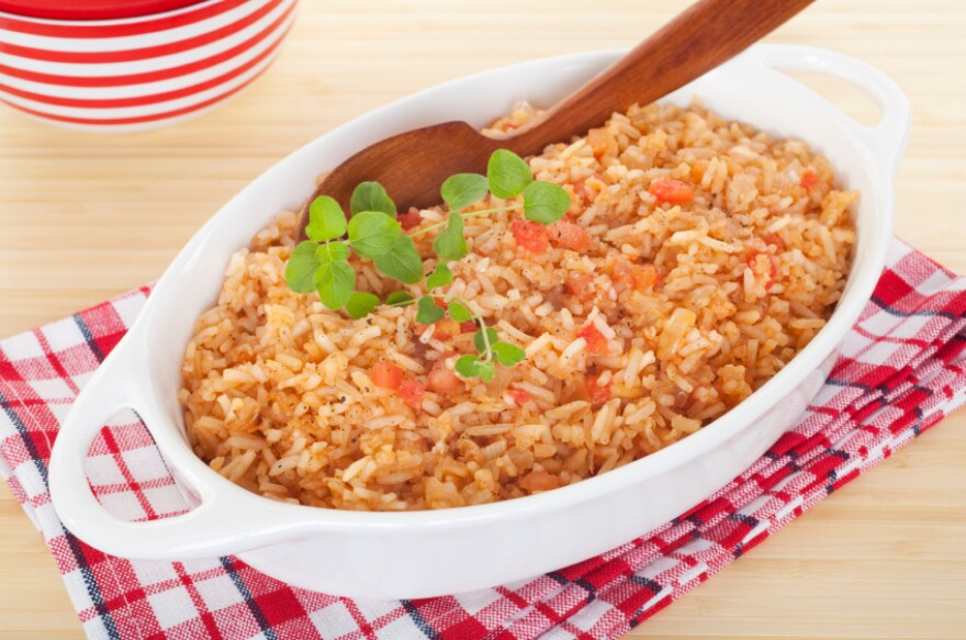 """Keep the rice brown and the skin off the chicken for a <a href=""""http://www.nhlbi.nih.gov/health/public/heart/hbp/dash/recipes.html"""">Spanish rice dinner</a> that could qualify for the winning diet."""