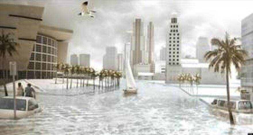 An artist's rendering of sea-level rise impacts to Biscayne Boulevard in downtown Miami. Planners from Miami-Dade, Broward, Palm Beach and Monroe counties agree on a projection of possibly two feet of sea-level rise by 2060 and potentially six feet by 2100.