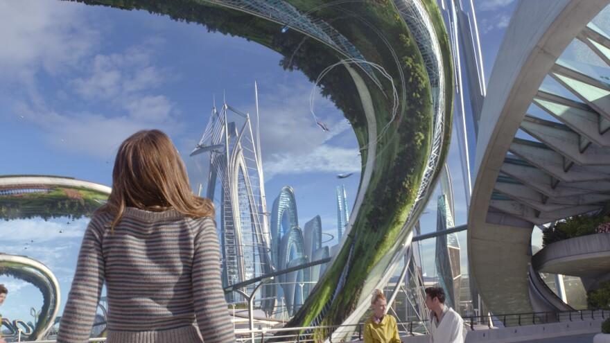 Casey (Britt Robertson) experiences a fantastic futuristic world in <em>Tomorrowland</em>.