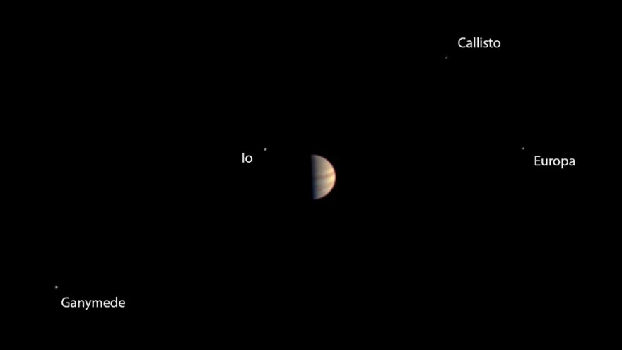 Before turning all of its attention to an orbit insertion at Jupiter, the Juno craft took this image of its target planet and surrounding moons.