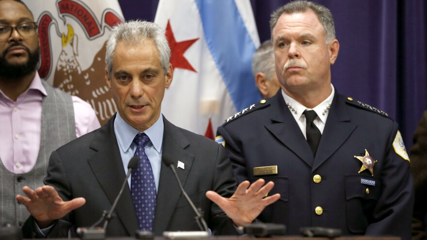 Chicago Mayor Rahm Emanuel, left, and Police Superintendent Garry McCarthy appear at a news conference Tuesday.
