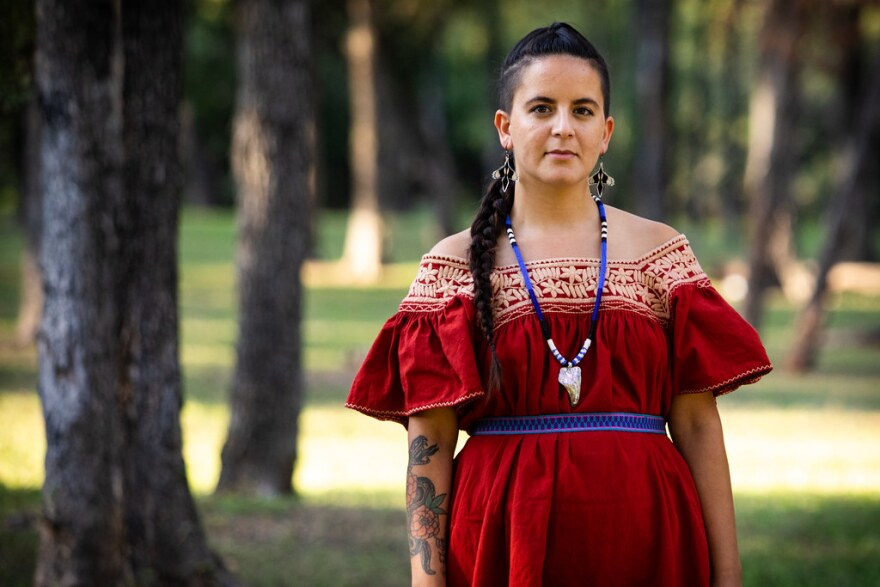 Emily Aguilar is a teacher, community organizer and artist living in the Montopolis neighborhood of Austin. She is also a member of the Coahuiltecan people.