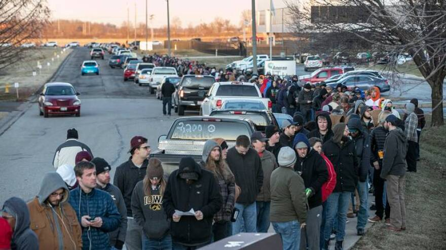 A long line formed early New Year's Day at Illinois Supply & Provisions in Collinsville, the only legal place to purchase recreational marijuana in the St. Louis region. The company has announced that only medical marijuana will be sold on Mondays.