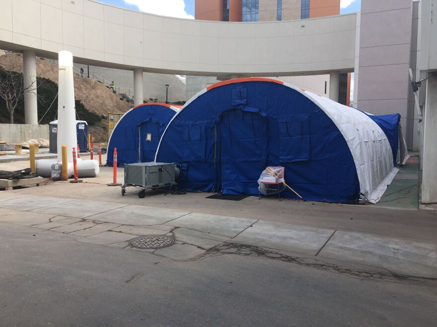 Photo of blue domed tents.