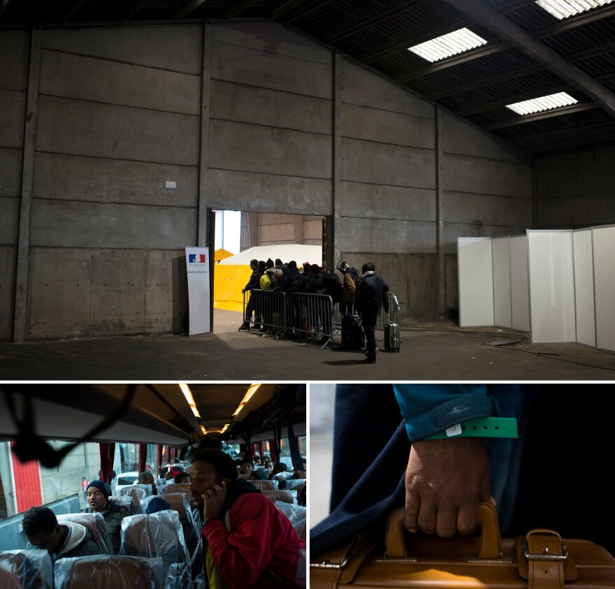 (Top) Migrants wait in line at a relocation center near The Jungle. (Bottom, left) Migrants board a bus departing for Nouvelle Aquitane. (Bottom, right) A migrant holds the handle of his suitcase after receiving a bracelet denoting which region of France he will be relocated to.