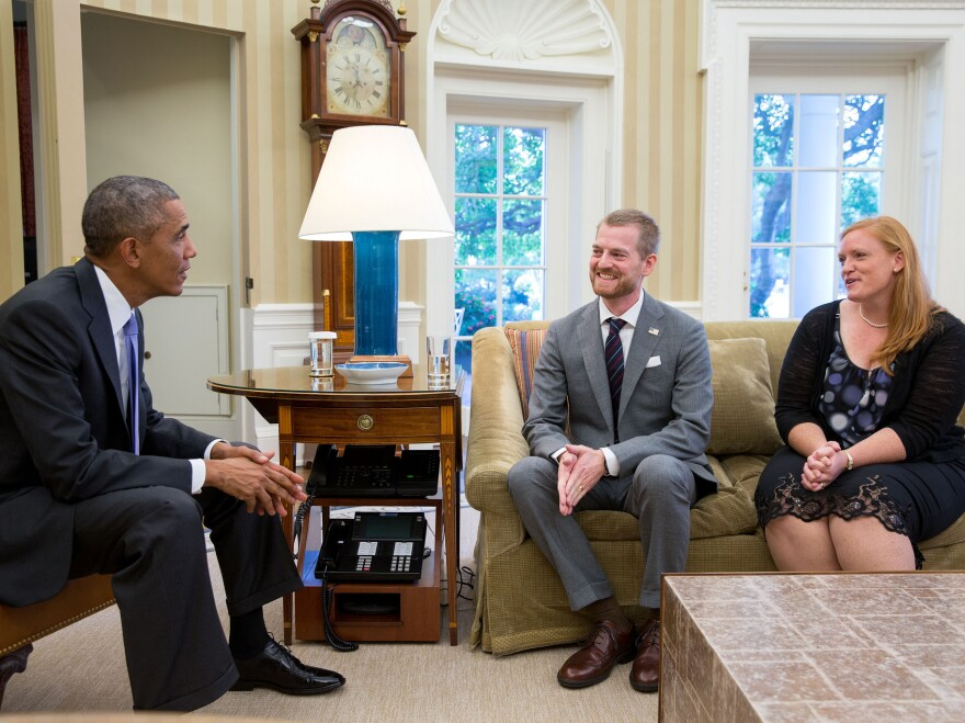 President Obama meets with Dr. Kent Brantly and his wife, Amber, during an Oval Office visit on Sept. 16.