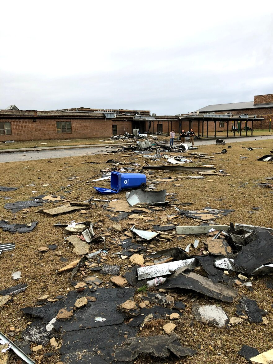 An EF-2 tornado hit North Central High in Kershaw, S.C., on Saturday night.
