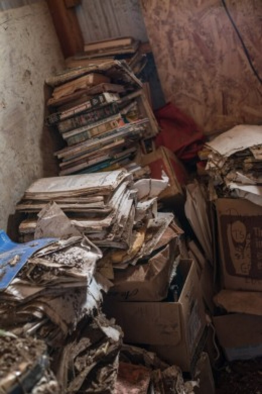 Documents gather dust in decaying boxes in Carol Van Strum's shed in the Siuslaw National Forest. For decades, Van Strum has been amassing documents about the chemical industry through lawsuits and Freedom of Information Act requests