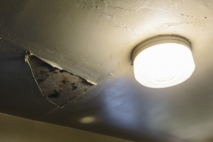 The kitchen ceiling of an apartment at the John Robinson Homes was damaged by water.