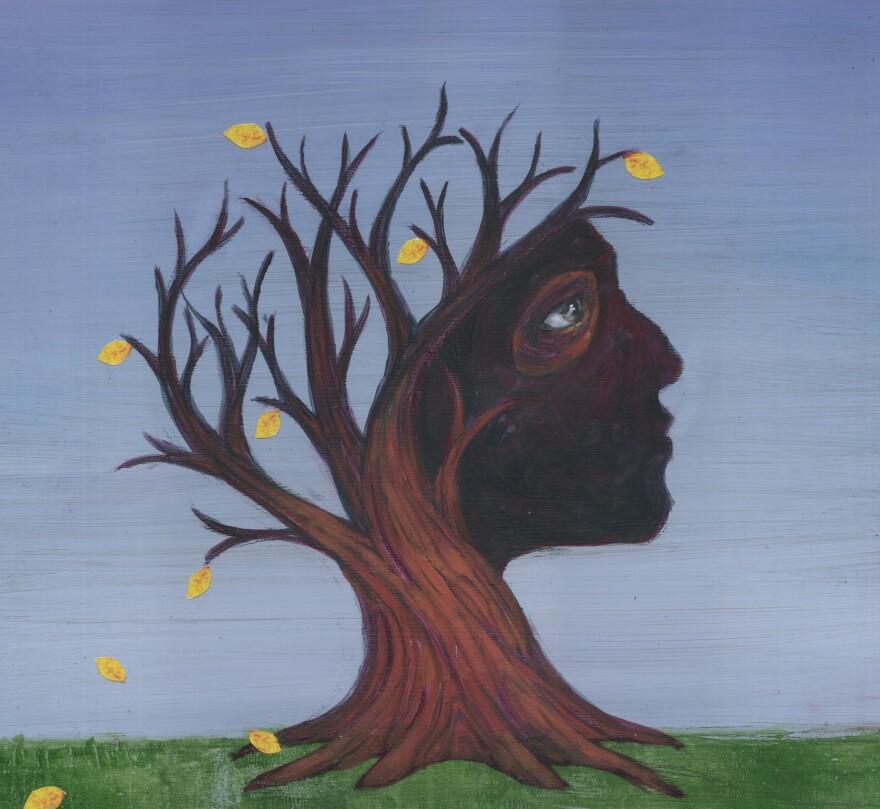 Conceptual illustration of deciduous tree depicting Alzheimer's disease.