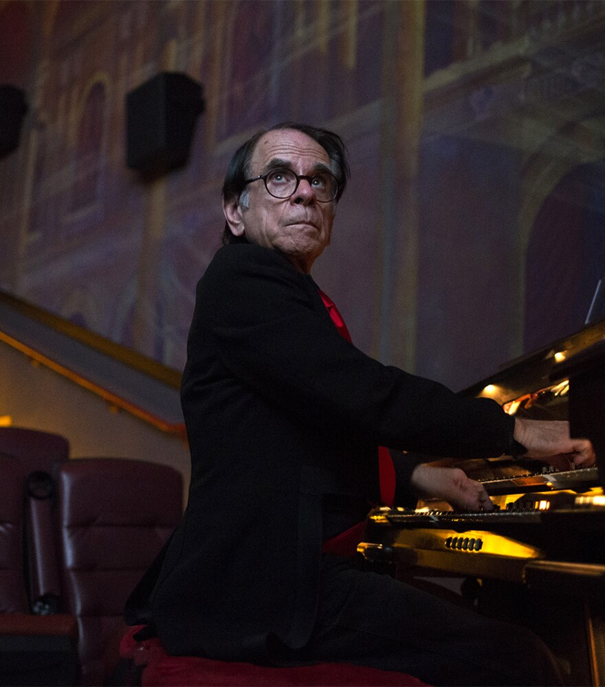 Gerry Marian plays the organ at Chase Park Plaza Cinemas.