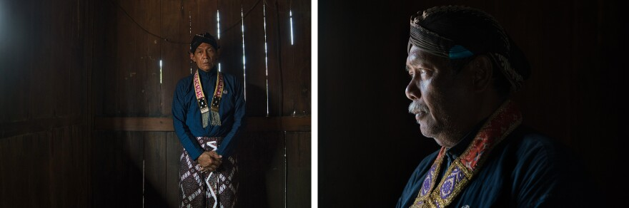 Left: Hastono Wasiyo, 60, is a gravedigger and caretaker at the Kejawen cemetery. Right: Mas Bekel Hastono Darwinto, 61, is the main caretaker of the Kejawen graveyard. Both men clean and maintain the area. In the afternoon, they sit just outside the cemetery in a wooden shed, sharing pieces of cassava.