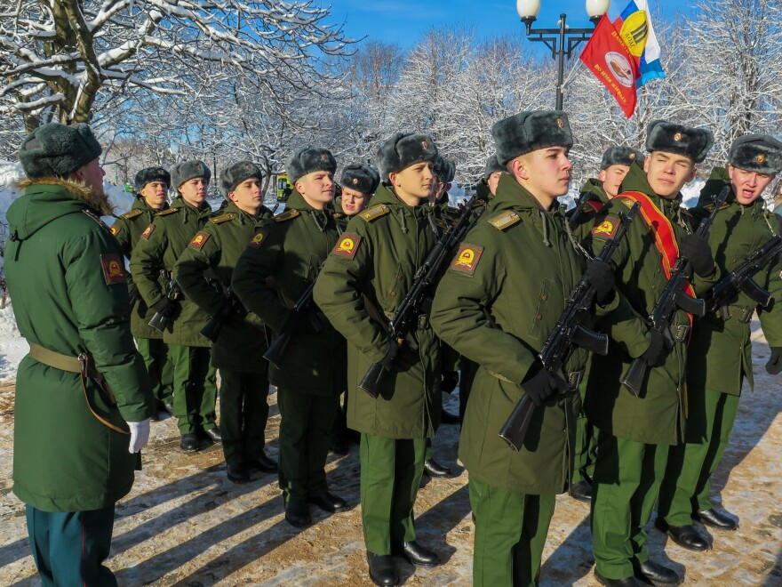 Military personnel stand at attention during a ceremony in a Moscow park dedicated to the 1989 Soviet withdrawal from Afghanistan. The war cost the lives of 15,000 Soviet soldiers and hundreds of thousands of Afghan civilians.