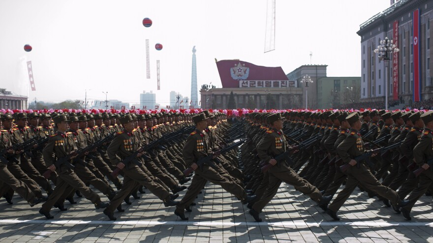 """North Korean soldiers march during a military parade to mark 100 years since the birth of North Korea's founder Kim Il Sung in Pyongyang on April 15. It was supposed to be the year North Korea would become a """"strong and prosperous"""" nation. That hasn't exactly been the case."""