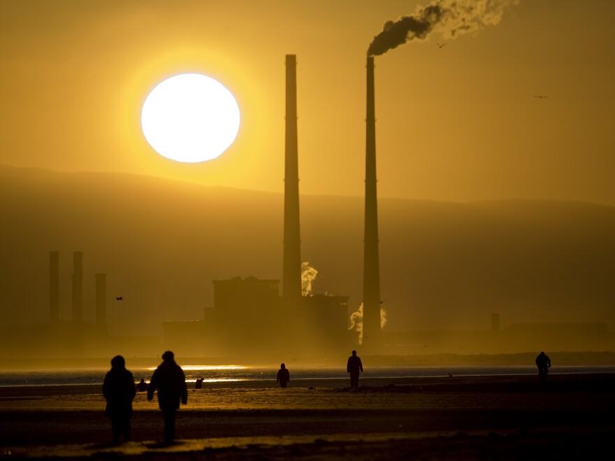 Smokestacks loom over Bull Island, northeast of Dublin, in 2008.