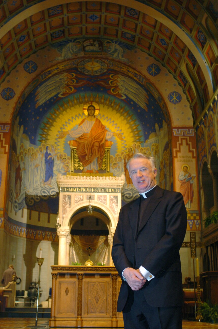The Rev. Michael J. Bransfield, the incoming bishop of the Diocese of Wheeling-Charleston, stands inside the Cathedral of St. Joseph, Monday, Feb. 21, 2005, in Wheeling, W.Va.