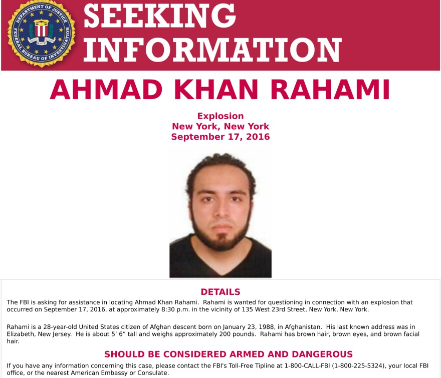 The FBI released a poster seeking help in apprehending Ahmad Khan Rahami, 28, in connection to the bomb that exploded in New York City's Chelsea neighborhood Saturday.