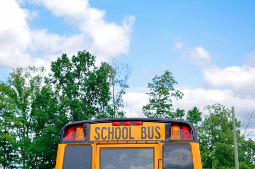 The top of a bright yellow school bus in front of green trees and a blue sky with white clouds.