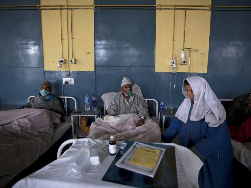 Patients receive treatment at the Chest Disease Hospital in Srinagar, India. The country has one of the highest rates of drug-resistant tuberculosis in the world, in part because antibiotics for the disease are poorly regulated by the government.