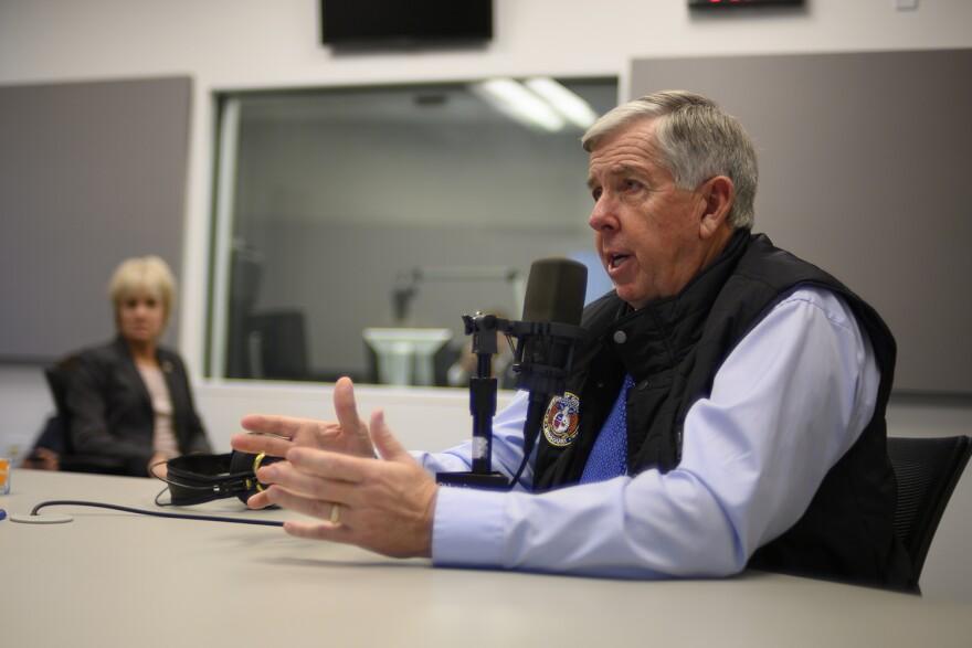 Gov. Mike Parson speaks to St. Louis Public Radio's Jason Rosenbaum during an interview on Dec. 13, 2018.